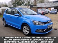 USED 2016 16 VOLKSWAGEN POLO 1.0 BlueMotion Tech SE 5 Door Hatchback In Blue With Alloys