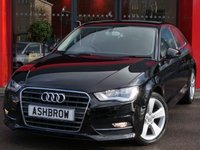 USED 2014 14 AUDI A3 1.4 TFSI SPORT 3d 125 S/S PGRADE AUTO RELEASE FUNCTION (AUTO HILL HOLD), DAB RADIO, BLUETOOTH PHONE & MUSIC STREAMING, AUDI MUSIC INTERFACE FOR IPOD/USB DEVICES (AMI), MANUAL 6 SPEED GEARBOX, START STOP TECHNOLOGY, FRONT FOG LIGHTS, HEADLAMP WASHERS, 17 INCH 5 SPOKE ALLOY WHEELS, GREY CLOTH INTERIOR, SPORT SEATS, LEATHER 3 SPOKE SPORT MULTIFUNCTION STEERING WHEEL, AUDI DRIVE SELECT, DUAL CLIMATE AIR CON, CD HIFI WITH 2x SD CARD READERS, ELECTRIC WINDOWS, ELECTRIC HEATED DOOR MIRRORS, FULL SERVICE HISTORY, £30 ROAD TAX