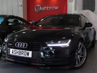 USED 2015 65 AUDI A7 SPORTBACK 3.0 BiTDI QUATTRO S LINE BLACK EDITION 5d AUTO 315 S/S MASSIVE SPEC, 1 OWNER FROM NEW, SERVICE HISTORY, UPGRADE TILT / SLIDE SUNROOF, UPGRADE HEATED FRONT + REAR SEATS, UPGRADE TECH PACK (MMI TOUCH, HEADS UP DISPLAY, AUDI CONNECT + PHONEBOX), UPGRADE ASSISTANCE PACK (CAMERA + DISTANCE SENSOR, ADAPTIVE CRUISE CONTROL, LANE CHANGE ASSIST), UPGRADE PARKING PACK (PARK ASSIST + REAR CAMERA), UPGRADE ELECTRIC POWER FOLDING HEATED MIRRORS, SAT NAV, FULL BLACK LEATHER, BOSE, DAB, BLUETOOTH PHONE & MUSIC,AUDI MUSIC INTERFACE (AMI),QUATTRO 4 WHEEL DRIVE,VAT Q