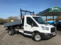 USED 2016 16 FORD TRANSIT 2.2 350 C/C DRW 1d 125 BHP Alloy Sided Tipper, One Owner, Finance Arranged.