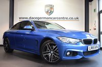 "USED 2016 65 BMW 4 SERIES 3.0 435D XDRIVE M SPORT 2DR AUTO 309 BHP full bmw service history *NO ADMIN FEES* FINISHED IN STUNNING ESTORIL METALLIC BLUE WITH FULL LEATHER INTERIOR + FULL BMW SERVICE HISTORY + PRO SATELLITE NAVIGATION + BLUETOOTH + XENON LIGHTS + HEATED SEATS WITH MEMORY + DAB RADIO + LIGHT PACKAGE + CRUISE CONTROL + PARKING SENSORS + BRAND NEW 18"" ALLOY WHEELS"