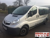 USED 2013 63 VAUXHALL VIVARO 2.0 COMBI CDTI 5d 113 BHP 9 SEATER MINIBUS WINDOW VAN (COMMERCIAL 6400+1280VAT). 9 SEATER MINIBUS. STUNNING SILVER MET WITH BLACK CLOTH TRIM. WINDOW VAN. BLUETOOTH PREP. AIR CON. R/CD PLAYER. MOT 09/19. ONE PREV OWNER. FULL SERVICE HISTORY. PICK-UP & VAN CENTRE - LS23 7FQ. TEL 01937 849492 OPTION 3.