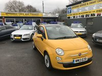 2013 FIAT 500 1.2 LOUNGE 3 DOOR 69 BHP IN YELLOW WITH A PANORAMIC ROOF,AIR CON WITH ONLY 61000 MILES. £4299.00