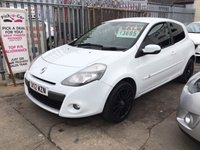 USED 2012 12 RENAULT CLIO 1.1 DYNAMIQUE TOMTOM 16V 3d 75 BHP 57000 miles, white, black alloys, low insurance, superb.