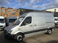 USED 2015 15 MERCEDES-BENZ SPRINTER 2.1 313CDI MWB HIGH ROOF 130BHP SILVER. BLUE EFFICIENCY SILVER RARE VAN. BIG SPEC. FULL SERVICE. FINANCE. PX