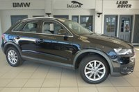 USED 2012 61 AUDI Q3 2.0 TDI QUATTRO SE 5d AUTO 175 BHP FINISHED IN STUNNING BLACK WITH ANTHRACITE CLOTH SEATS + EXCELLENT AUDI SERVICE HISTORY + COLOUR DISPLAY SCREEN + 17 INCH ALLOYS + BLUETOOTH + AUDI MUSIC INTERFACE + AIR CONDITIONING + CLIMATE CONTROL....