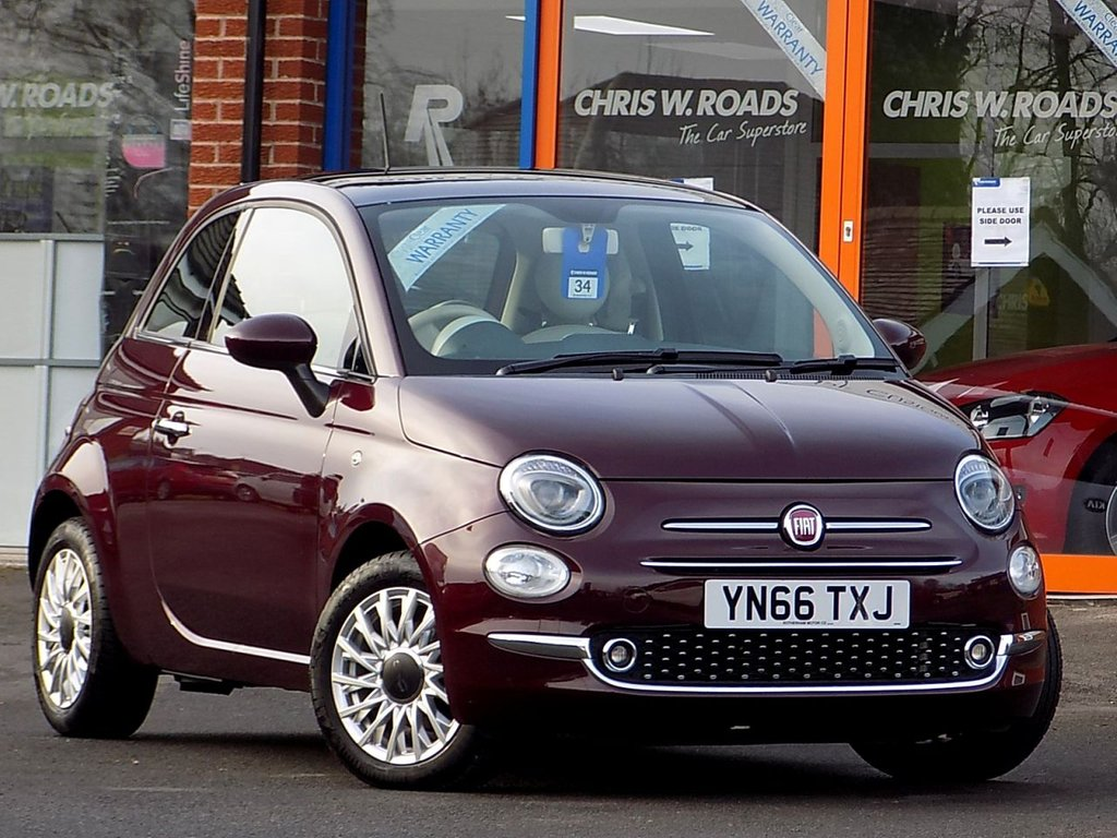 USED 2016 66 FIAT 500 1.2 Lounge 3dr  ** Pan Roof + Bluetooth **