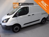 USED 2016 65 FORD TRANSIT CUSTOM 2.2 290 LR P/V 1d 99 BHP AMAZING VAN  WITH ONE OWNER AND  FULL SERVICE  HISTORY 4 STAMPS FINISHED IN BRIGHT WHITE,WITH IMMACULATE BODY WORK AND UNMARKED INTERIOR,  ELEC WINDOWS, REMOTE CENTRAL LOCKING, RADIO CD USB POINT, BLUETOOTH PHONE PREP FRONT AND REAR PARKING SENSORS, CARGO LINED, BULK HEAD,