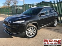 USED 2015 65 JEEP CHEROKEE 2.2 M-JET II LIMITED 5d AUTO 197 BHP 4WD PAN ROOF SAT NAV LEATHER FSH 4WD. PANORAMIC SUNROOF. SATELLITE NAVIGATION. STUNNING BLACK MET WITH FULL BLACK LEATHER TRIM. ELECTRIC HEATED SEATS. CRUISE CONTROL. 18 INCH ALLOYS. COLOUR CODED TRIMS. PRIVACY GLASS. PARKING SENSORS. REVERSING CAMERA. ELECTRIC TAILGATE. BLUETOOTH PREP. CLIMATE CONTROL. TRIP COMPUTER. AUTO. MEDIA CONNECTIVITY. MFSW. MOT 10/19. ONE PREV OWNER. FULL SERVICE HISTORY. SUV & 4X4 CAR CENTRE LS23 7FR. TEL 01937 849492. OPTION 2