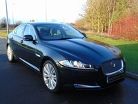 USED 2013 13 JAGUAR XF 3.0 D V6 PORTFOLIO 4d AUTO 240 BHP BRITISH RACING GREEN & IVORY LEATHER