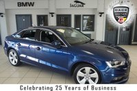 USED 2016 16 AUDI A3 1.6 TDI SPORT NAV 4d 109 BHP Full Service History 1 owner FINISHED IN STUNNING BLUE WITH ANTHRACITE CLOTH SEATS + 1 OWNER FULL SERVICE HISTORY + SATELLITE NAVIGATION + REAR PARKING CAMERA + BLUETOOTH + DAB RADIO + £20 ROAD TAX + 17 INCH ALLOYS + AIR CONDITIONING + FRONT AND REAR PARKING SENSORS....