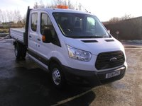USED 2016 16 FORD TRANSIT 2.2 350 DCB Crew Cab DRW 1d 124 BHP VAN Tipper Air Con, 25000  miles, Service History