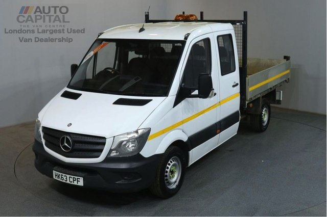 2013 63 MERCEDES-BENZ SPRINTER 2.1 313 CDI D/C MWB 129 BHP 6 SEATER TIPPER REAR BED LENGTH 8 FOOT 11 INCH