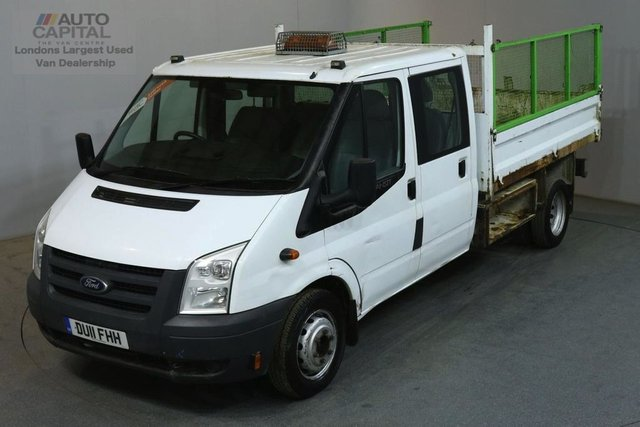 2011 11 FORD TRANSIT 2.4 350 100 BHP LWB D/CAB 6 SEATER COMBI TWIN WHEEL TIPPER  REAR BED LENGTH 9 FOOT 2 INCH
