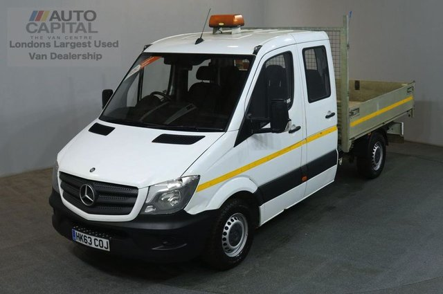 2013 63 MERCEDES-BENZ SPRINTER 2.1 313 CDI D/C MWB 129 BHP 6 SEATER TIPPER REAR BED LENGTH 8 FOOT & 8 IN