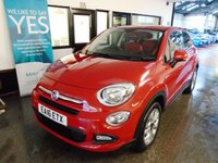 USED 2016 16 FIAT 500X 1.6 POP STAR 5d 110 BHP This Petrol Powered 500 X is finished in Passione (Red) with Red & Black half leather & Cloth seats. It is fitted with power steering, remote locking, electric windows and mirrors, Multi terrain modes, climate control, cruise control, Start/Stop, Bluetooth, rear parking sensors, isofix seats, daylights, space saver spare, alloy wheels, CD Stereo with Aux & USB port and more. It has had one private male owner from new, It has a Fiat service history consisting of 3 stamps at 8052/17903/27453.