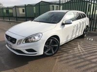 USED 2011 61 VOLVO V60 1.6 DRIVE R-DESIGN S/S 5d 113 BHP LEATHER PRIVACY 18 ALLOYS FSH STUNNING WHITE WITH BLACK AND WHITE R DESIGN TRIM. CRUISE CONTROL. 18 INCH ALLOYS. COLOUR CODED TRIMS. PRIVACY GLASS. PARKING SENSORS. BLUETOOTH PREP. DUAL CLIMATE CONTROL. TRIP COMPUTER. IPOD CONNECTIVITY. 6 SPEED MANUAL. MFSW. MOT 01/20. FULL SERVICE HISTORY. SUV & 4X4 CAR CENTRE LS23 7FR. TEL 01937 849492 OPTION 2