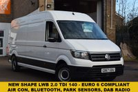 USED 2017 67 VOLKSWAGEN CRAFTER 2.0 CR35 TDI L H/R P/V TRENDLINE 1d 138 BHP A superb value EURO 6 NEW SHAPE December 2017 Vw Crafter 2.0tdi 140 TRENDLINE CR35 LWB HIGH ROOF VAN in white priced well at £19899 + vat. FITTED WITH AIR CON, BLUETOOTH AND REAR PARK SENSORS. 1 keeper with the remainder of the manufacturers warranty and 2 keys.