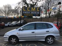 USED 2005 05 NISSAN ALMERA 1.8 TINO SE 5d 114 BHP STARBRIGHT SILVER METALLIC WITH GREY CLOTH UPHOLSTERY. LOW MILEAGE FOR AGE. REAR REVERSING CAMERA. ELECTRIC GLASS SUNROOF. AIR CONDITIONING. ELECTRIC WINDOWS. REMOTE CENTRAL LOCKING WITH TWO KEYS. PLEASE GOTO www.lowcostmotorcompany.co.uk TO VIEW OVER 120 CARS IN STOCK, SOME OF THE CHEAPEST ONLINE.