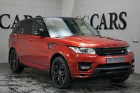 USED 2013 63 LAND ROVER RANGE ROVER SPORT 3.0 SDV6 AUTOBIOGRAPHY DYNAMIC 5d AUTO 288 BHP Chilli Red Metallic with Black Full Leather Heated Air Conditioned Seats with Contrasting Ivory Dash Top and Doors, HDD Satellite Navigation + Bluetooth + Meridian Premium Sound + DAB Radio, 22 Inch Gloss Black Alloy Wheels 4 Nearly New Yokohama Tyres, Front and Rear Park Distance Control + Reverse Camera, Automatic Bi-Xenon Headlights with Power Wash, Digital 4 Zone Climate Control, Deployable Towbar, Heated Electric Powerfold Mirrors, Adaptive Cruise Control, Heated Leather Multi Function Stee