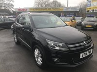 USED 2014 14 VOLKSWAGEN TIGUAN 2.0 MATCH TDI BLUEMOTION TECHNOLOGY 4MOTION 5 DOOR 139 BHP IN METALLIC BLACK WITH A VERY LOW  APPROVED CARS ARE PLEASED TO OFFER THIS  VOLKSWAGEN TIGUAN 2.0 MATCH TDI BLUEMOTION TECHNOLOGY 4MOTION 5 DOOR IN SOLID BLACK HILL START,SAT NAV,CITY STEERING,BLUETOOTH,CRUISE CONTROL AND MUCH MORE WITH A SUPER LOW MILEAGE ONLY 16000 MILES WITH 2 VOLKSWAGEN SERVICES IN THE SERVICE BOOK.