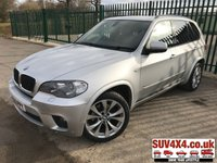 USED 2010 60 BMW X5 3.0 XDRIVE30D M SPORT 5d AUTO 241 BHP SAT NAV LEATHER  XDRIVE 4WD. SATELLITE NAVIGATION. STUNNING SILVER MET WITH FULL BLACK LEATHER M-SPORT TRIM. ELECTRIC MEMORY HEATED SEATS. CRUISE CONTROL. 20 INCH M-SPORT ALLOYS. COLOUR CODED TRIMS. PRIVACY GLASS. PARKING SENSORS. REVERSING CAMERA. BLUETOOTH PREP. DUAL CLIMATE CONTROL INCLUDING AIR CON. R/CD PLAYER. MFSW. TOWBAR. MOT 01/20. SERVICE HISTORY. PRESTIGE SUV CENTRE - LS24 8EJ. TEL 01937 849492 OPTION 1