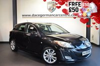 """USED 2009 59 MAZDA 3 2.2 D SPORT 5DR 150 BHP superb service history - 5 stamps FINISHED IN STUNNING BLACK WITH CLOTH UPHOLSTERY + SUPERB SERVICE HISTORY + BLUETOOTH+ JEATED SPORT SEATS + CRUISE CONTROL + ELECTRIC FOLDING MIRROS + AIR CONDITIONING + AUXILIARY PORT + 17""""ALLOY WHEELS"""