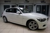 USED 2015 15 BMW 1 SERIES 2.0 118D M SPORT 5d 141 BHP FINISHED IN STUNNING ALPINE WHITE WITH ANTHRACITE CLOTH SEATS + FULL BMW SERVICE HISTORY + SATELLITE NAVIGATION + £30 ROAD TAX  BLUETOOTH + 18 INCH ALLOYS + DAB RADIO + AIR CONDITIONING + CLIMATE CONTROL....