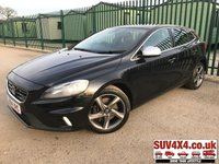 USED 2014 64 VOLVO V40 2.0 D4 R-DESIGN 5d 187 BHP LEATHER ONE OWNER FSH STUNNING BLACK MET WITH PART BLACK LEATHER TRIM. STOP/START. CRUISE CONTROL. 17 INCH ALLOYS. COLOUR CODED TRIMS. PARKING SENSORS. BLUETOOTH PREP. DUAL CLIMATE CONTROL. TRIP COMPUTER. MEDIA CONNECTIVITY. 6 SPEED MANUAL. MFSW. MOT 08/19. ONE OWNER FROM NEW. FULL SERVICE HISTORY. SUV & 4X4 CAR CENTRE LS23 7FR. TEL 01937 849492 OPTION 2