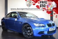 """USED 2010 10 BMW M3 4.0 M3 MONTE CARLO 2DR 414 BHP FINISHED IN STUNNING MONTE CARLO METALLIC BLUE WITH FULL BLACK LEATHER INTERIOR + FULL SERVICE HISTORY + PRO SATELLITE NAVIGATION + BLUETOOTH + XENON LIGHTS + HEATED SEATS WITH MEMORY + LIGHT PACKAGE + CRUISE CONTROL + RAIN SENSORS + PARKING SENSORS + 19"""" ALLOY WHEELS"""