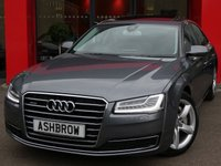 USED 2014 14 AUDI A8 3.0 TDI QUATTRO SE EXECUTIVE 4d AUTO 255 S/S NEW SHAPE, UPGRADE TILT / SLIDE SUNROOF, HDD SAT NAV WITH JUKEBOX & DVD PLAYBACK, DAB RADIO, AUDI MUSIC INTERFACE FOR IPOD/USB DEVICES (AMI), BLUETOOTH PHONE & MUSIC STREAMING, WIRELESS LAN CONNECTION (WLAN), 19 IN 5 SPOKE ALLOYS, ELECTRIC FOLDING HEATED DOOR MIRRORS, ELECTRIC MEMORY SEATS, SPORT SEATS, REAR VIEW CAMERA, POWER BOOT LID, KEYLESS ENTRY & START, QUATTRO 4 WHEEL DRIVE, FRONT & REAR PARKING SENSORS W/ DISPLAY, MATRIX LED HEADLIGHTS W/ DRL, HEADLAMP WASHERS, FULL BLACK LEATHER, LEATHE