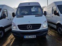 USED 2013 63 MERCEDES-BENZ SPRINTER 2.1 313 CDI MWB 1d 129 BHP 63 PLATE ARCTIC WHITE  6 SPEED MANUAL GEARBOX READY FOR WORK
