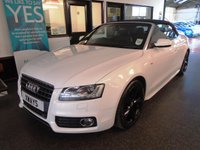 USED 2012 12 AUDI A5 2.0 TDI S LINE 2d 168 BHP Two owners- last lady since 6 months old, full Audi service history- 6 stamps, supplied with 12 months Mot. Finished in Ibis White with Black canvas roof, full leather interior and gloss Black alloy wheels.