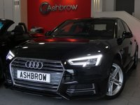 USED 2015 65 AUDI A4 2.0 TDI S LINE 4d AUTO 190 S/S NEW SHAPE, UPGRADE FRONT & REAR PARKING SENSORS WITH DISPLAY, UPGRADE ELECTRIC FOLDING HEATED DOOR MIRRORS, SAT NAV, AUDI SMART PHONE WITH APPLE CAR PLAY & ANDROID AUTO, AUDI CONNECT, DAB RADIO, CRUISE CONTROL WITH SPEED LIMITER, LED DAYTIME RUNNING LIGHTS, BLUETOOTH PHONE & MUSIC STREAMING, FULL S LINE BODY KIT, 18 INCH TWIN 5 SPOKE ALLOYS, ALUMINIUM PEDALS, BLACK ½ LEATHER INTERIOR, LEATHER MULTIFUNCTION TIPTRONIC STEERING WHEEL, £30 ROAD TAX, 1 OWNER FROM NEW, FULL AUDI HISTORY