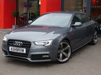 USED 2014 64 AUDI A5 SPORTBACK 2.0 TDI QUATTRO S LINE BLACK EDITION 5d 177 S/S 1 OWNER FROM NEW, FULL SERVICE HISTORY, UPGRADE PARKING SYSTEM ADVANCED W/ FRONT & REAR SENSORS + REAR VIEW CAMERA, FULL BLACK LEATHER, HEATED FRONT SEATS, SPORT SEATS W/ ELECTRIC LUMBAR SUPPORT, BANG & OLUFSEN SOUND SYSTEM, PRIVACY GLASS, DAB RADIO, BLUETOOTH PHONE & MUSIC STREAMING, WIRELESS LAN CONNECTION (WLAN), QUATTRO 4 WHEEL DRIVE, 19 INCH ROTOR ALLOYS, AUDI MUSIC INTERFACE (AMI) , BI XENON HEADLIGHTS W/ LED DRL, FRONT FOGS, HEADLAMP WASHERS,  CRUISE, 2x SD READERS,DUAL CLIMATE A/C, VAT Q