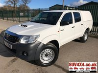 USED 2016 65 TOYOTA HI-LUX 2.5 ACTIVE 4X4 D-4D DCB 1d 142 BHP REAR CANOPY ONE OWNER COMMERCIAL (£10900+2180VAT). 4WD. TRUCKMAN REAR CANOPY. STUNNING WHITE WITH BLACK CLOTH TRIM. CARGO LINING. AIR CON. COLOUR CODED TRIMS. PRIVACY GLASS. PAS. R/CD PLAYER. MFSW. TOW BAR. MOT 01/20. ONE OWNER FROM NEW. SERVICE HISTORY. PICK-UP & VAN CENTRE- LS23 7FQ. TEL 01937 849492 OPTION 3