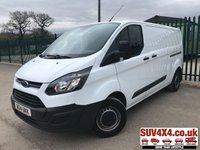 USED 2014 14 FORD TRANSIT CUSTOM 2.2 290 LR P/V 1d 99 BHP ONE OWNER FSH (COMMERCIAL £7400+1480VAT). WHITE WITH GREY CLOTH TRIM. 3 SEATER. BULKHEAD. PLY LINED. CARPETED FLOORING. CARGO LINING. N/S LOADING DOOR. BLUETOOTH PREP. R/CD PLAYER. MFSW. 6 SPEED MANUAL. MOT 02/20. ONE OWNER FROM NEW. FULL SERVICE HISTORY. PICK-UP & VAN CENTRE- LS23 7FQ. TEL 01937 849492 OPTION 3