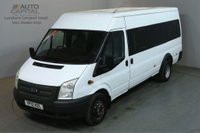 USED 2012 12 FORD TRANSIT 2.2 430 17 STR 134 BHP TWIN WHEEL EXTRA LWB M/ROOF MINIBUS ONE OWNER FULL S/H 4300KG
