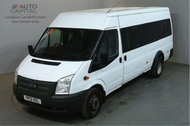 2012 12 FORD TRANSIT 2.2 430 17 STR 134 BHP TWIN WHEEL EXTRA LWB M/ROOF MINIBUS ONE OWNER FULL S/H 4300KG