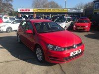 USED 2014 14 VOLKSWAGEN GOLF 1.4 SE TSI BLUEMOTION TECHNOLOGY 5 DOOR 120 BHP IN RED WITH SAT NAV. APPROVED CARS ARE PLEASED TO OFFER THIS VOLKSWAGEN GOLF 1.4 SE TSI BLUEMOTION TECHNOLOGY 5 DOOR 120 BHP IN RED WITH A GREAT SPEC INCLUDING SAT NAV,DAB RADIO,ALLOYS,ELECTRIC MIRRORS AND MUCH MORE WITH A FULL SERVICE HISTORY A LOVELY GOLF TSI.