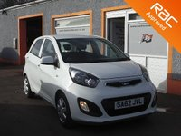 USED 2012 62 KIA PICANTO 1.0 1 AIR 5d 68 BHP Low Mileage, 4 Service Stamps, Air Conditioning, RAC inspected vehicle