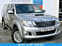 USED 2012 62 TOYOTA HI-LUX 3.0 INVINCIBLE 4X4 D-4D 5 Seat Double Cab Pickup with NO VAT TO PAY so SAVE 20% inc Truckman Canopy Side Steps Towbar Sat Nav Rear Parking Camera 1 FORMER KEEPER