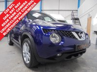 "USED 2015 15 NISSAN JUKE 1.5 ACENTA PREMIUM DCI 5d 110 BHP Full Service History, £20 Road Tax, Satellite Navigation, Rear Parking Camera, Bluetooth Phone and Media Streaming, DAB Radio/CD/BT/USB/Aux, Cruise Control with Speed Limiter, Climate Control, Tyre Pressure Sensors, 17"" Alloys"