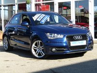 USED 2013 13 AUDI A1 1.6 SPORTBACK TDI S LINE 5d 105 BHP STUNNING Zero Tax, AUDI A1 1.6 TDI 5 DOOR S/LINE.  Finished in SCUBA BLUE Met with Part Leather interior. This premium badge small hatch is fun and great to drive. Features include, B/Tooth, Park sensors, Zero Road Tax, Air Con and much more.