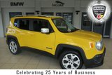 USED 2015 65 JEEP RENEGADE 1.4 LIMITED 5d 138 BHP FINISHED IN STUNNING YELLOW WITH FULL LEATHER SEATS + JEEP SERVICE HISTORY + SATELLITE NAVIGATION + 17 INCH ALLOYS + DAB RADIO + BLUETOOTH + HEATED FRONT SEATS + HEATED STEERING WHEEL + PARKING SENSORS + LANE DEPARTURE WARNING + TINTED GLASS