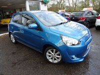 USED 2015 65 MITSUBISHI MIRAGE 1.2 ATTIVO 5d AUTOMATIC 79 BHP Full Service History (Mitsubishi + ourselves), One Previous Owner, MOT until October 2019, Automatic, Great fuel economy! ZERO Road Tax! Balance of Mitsubishi Warranty until 2020 / 62,500 miles