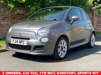 USED 2014 14 FIAT 500 1.2 S 3d 69 BHP 2 OWNERS, 1YR MOT, £30 TAX, WELL SERVICED, EXCELLENT CONDITION, ALLOYS, DUAL ZONE AIR CON, 500 SPORTS KIT, BLUE & ME, E/WINDOWS, R/LOCKING, FREE  WARRANTY, FINANCE AVAILABLE, HPI CLEAR, PART EXCHANGE WELCOME,