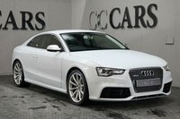 USED 2013 63 AUDI A5 4.2 RS5 FSI QUATTRO 2d AUTO 444 BHP Black Full Leather Heated Electric RS Embossed Sports Seats with Contrast Stitch and Carbon Fibre Inlays, MMI Satellite Navigation + Bluetooth Connectivity + DAB Radio + Reverse Camera, Leather Multi Function Steering Wheel + Paddle Shift, 19 Inch Diamond Turned Alloy Wheels, ACC - Adaptive Cruise Control, Digital Dual Zone Climate Control, Front and Rear Park Distance Control + Reverse Camera, Automatic Bi-Xenon Headlights + Power Wash, Heated Electric Exterior Mirrors with Chrome Mirror Caps