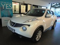USED 2013 63 NISSAN JUKE 1.6 ACENTA 5d 117 BHP This Juke is finished in Arctic White with Black cloth seats. It is fitted with power steering, remote locking, electric windows and mirrors, climate control, cruise control,  Bluetooth, alloy wheels, CD Stereo with Aux port and more. It has had two owners and in the last females possession since March 2017. It comes with a full service history consisting of stamps and invoices. It had a major service in January 2019. We will supply with a March 2020 Mot and a 6 month RAC warranty (extendable).