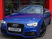 USED 2015 15 AUDI A5 CABRIOLET 2.0 TDI S LINE SPECIAL EDITION PLUS 2d AUTO 177 S/S HDD SAT NAV WITH DVD PLAYBACK & JUKEBOX, HEATED FRONT & REAR SEATS, BLUETOOTH PHONE & MUSIC STREAMING, DAB RADIO, WIRELESS LAN CONNECTION (WLAN), AUDI MUSIC INTERFACE (AMI), FRONT FOG LIGHTS, FRONT & REAR PARKING SENSORS WITH DISPLAY, REAR VIEW CAMERA, LED XENON LIGHTS, HEADLAMP WASHERS, REAR SPOILER, 19 INCH ALLOYS, FULL BLACK LEATHER INTERIOR, SPORT SEATS, HEAD LEVEL HEATING (AIR SCARF), BANG & OLUFSEN HIFI, LEATHER MULTI FUNCTION TIPTRONIC STEERING WHEEL (PADDLE SHIFT), CRUISE CONTROL